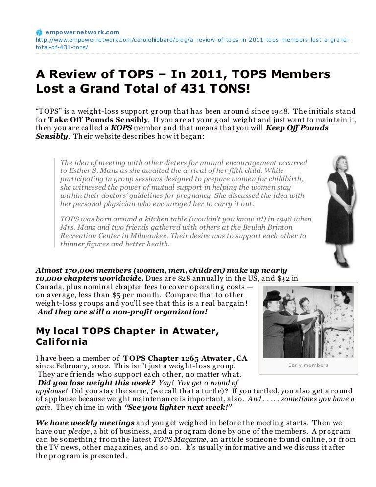 A Review Of Tops In 2011 Tops Members Lost A Grand Total Of 431 To