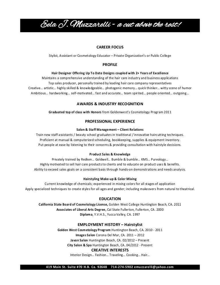 Eela Muzzarelli Cosmetology Resume