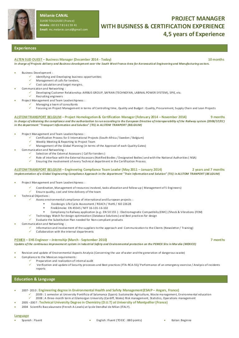 melanie canal project manager resume