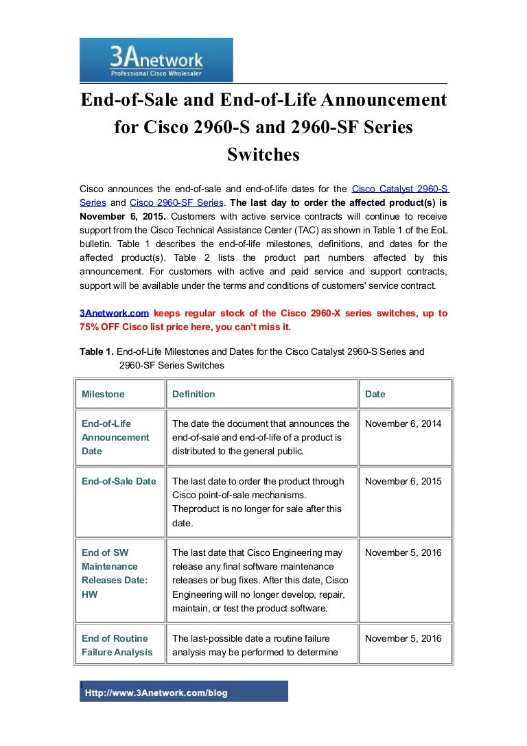 End of-sale and end-of-life announcement for cisco 2960-s