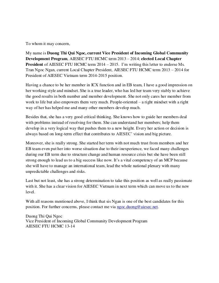 Endorsement Letter For Mcp