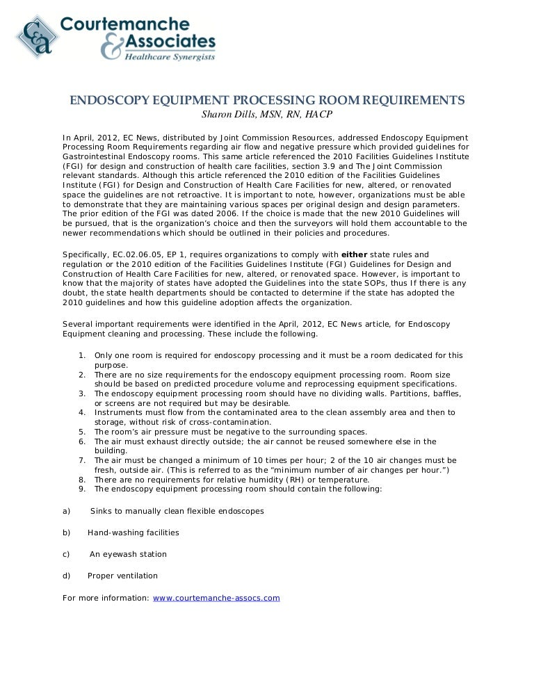 Endoscopic Room: Endoscopy Equipment Processing Room Requirements