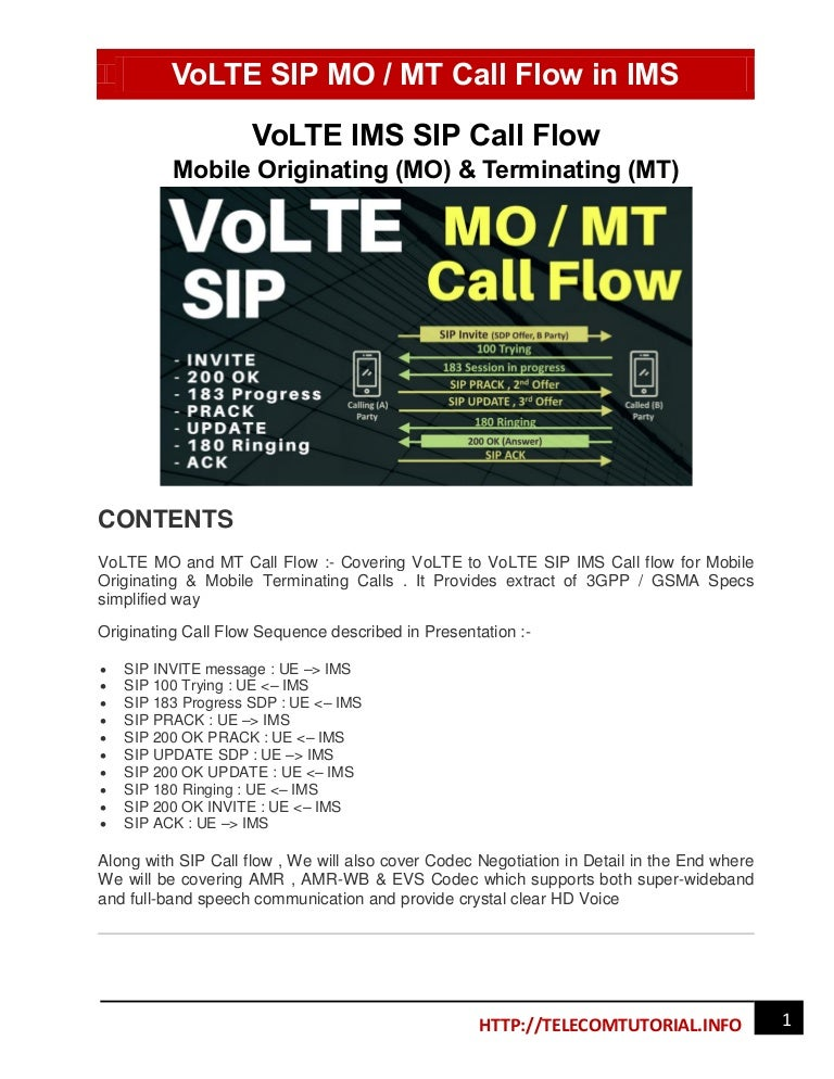 End to End volte ims sip call flow Guide - Mobile