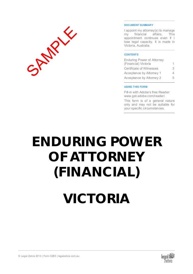 Enduring power of attorney financial victoria template sample falaconquin