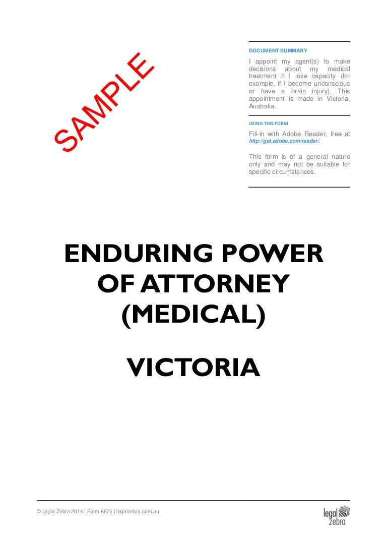 power of attorney form australia  Enduring Power of Attorney (Medical) Victoria - Sample