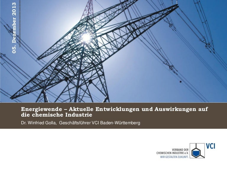 """Vortrag """"Energiewende - Aktuelle Entwicklungen und Auswirkungen auf die chemische Industrie"""" von Dr. Winfried Golla."""