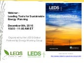 Leading Tools for Sustainable Energy Planning