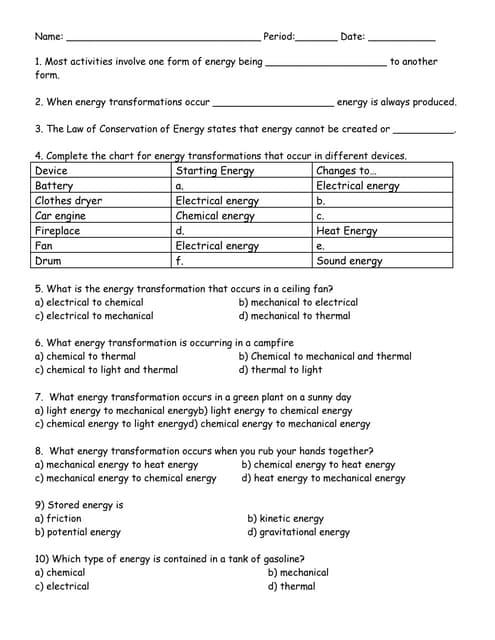 Worksheets Energy Transformations Worksheet With Answers energy transformation ditto