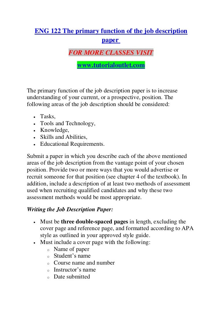 Eng 122 The Primary Function Of Job Description Paper Tutorialout