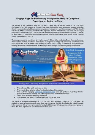 Engage high end university assignment help to complete complicated tasks on time