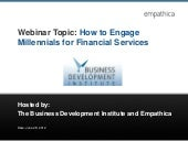 Engaging millenials for financial services