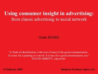 [Eng] The use of consumer insight in Advertising: from classic Advertising to Social network