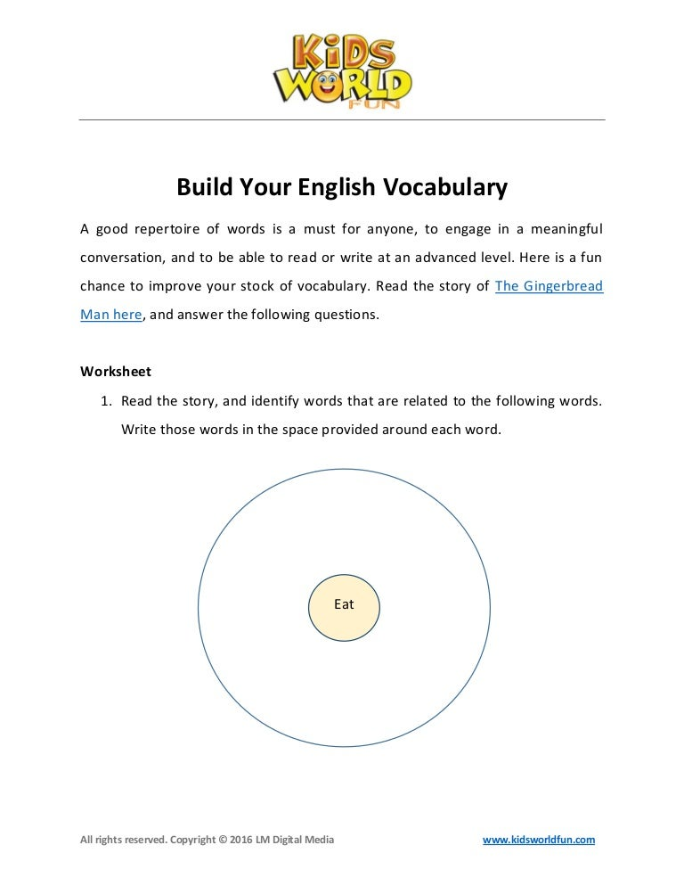 English Vocabulary Worksheet For Kids