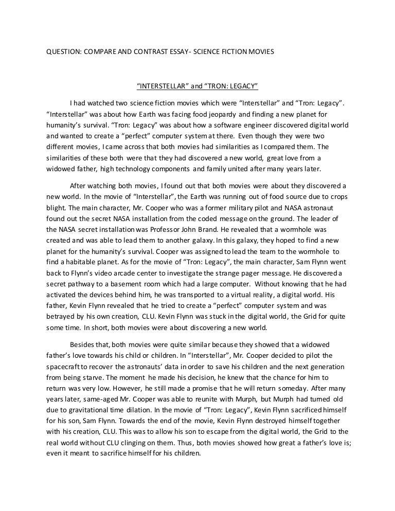 English  Scifi Compare And Contrast Essay