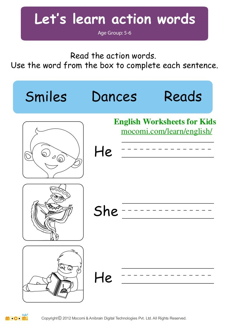 Lets learn action words English Worksheets for Kids Mocomi – Learn English Worksheets