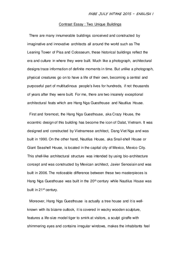 english assignment contrast essay between two unique building