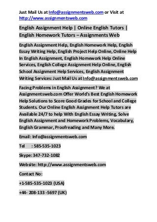 Help in english assignment?