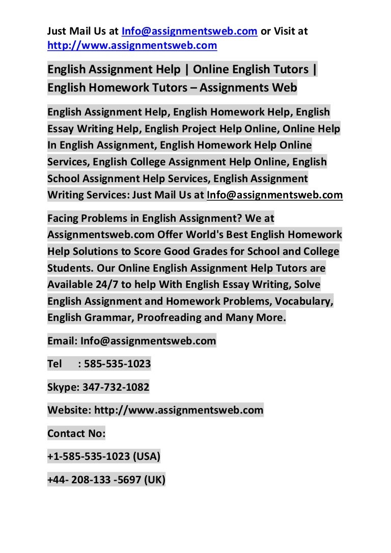 Assignment Helper English Assignment Help English Homework Help  English Assignment Help English Homework Help Online English Tutor