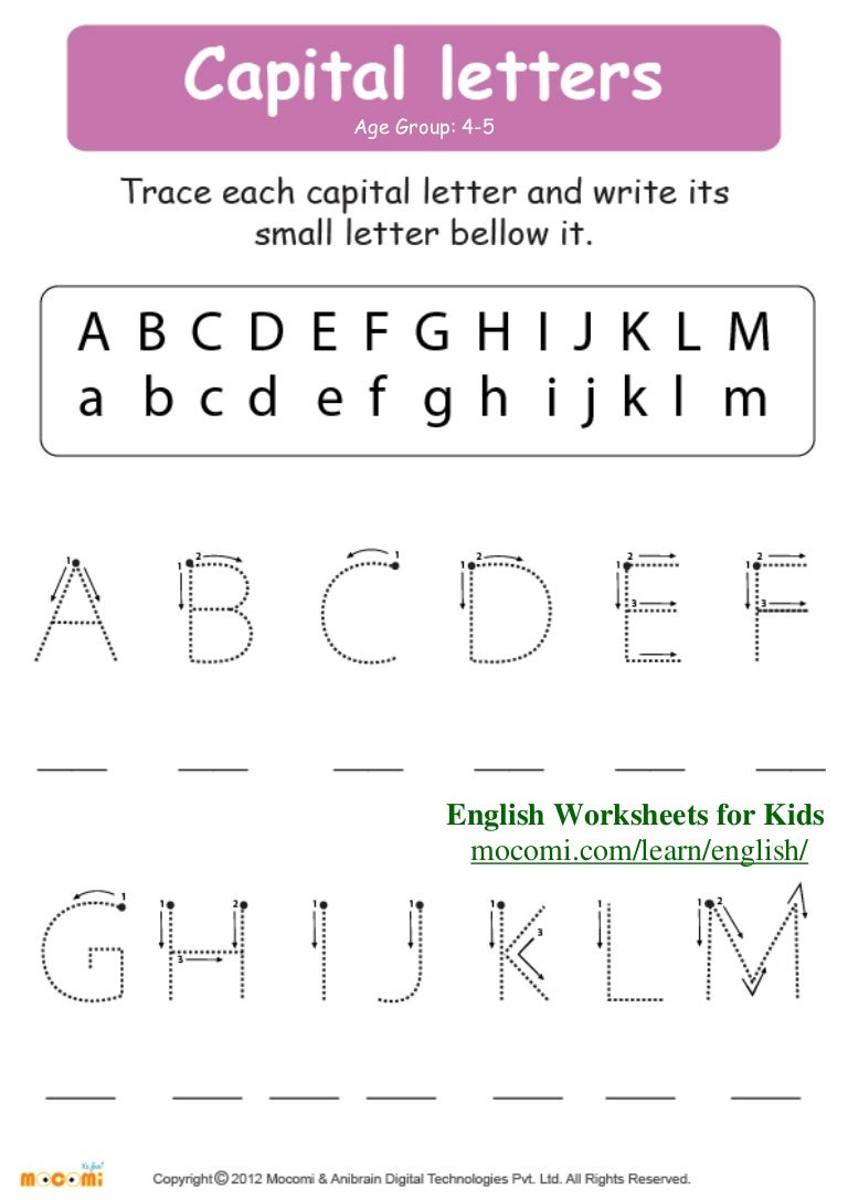 Capital Letters English Worksheets for Kids Mocomi – Preschool Worksheets Age 4