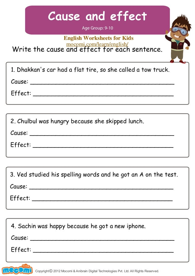 worksheet Free Cause And Effect Worksheets cause and effect english worksheets for kids mocomi com
