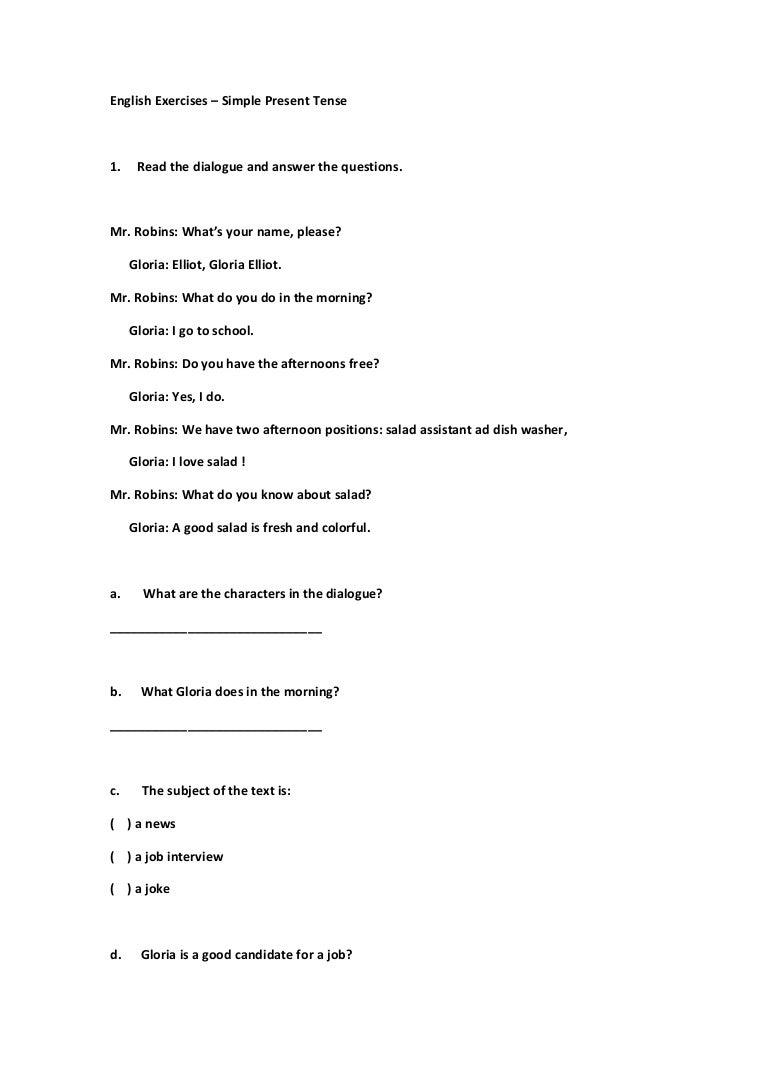 english exercises ano