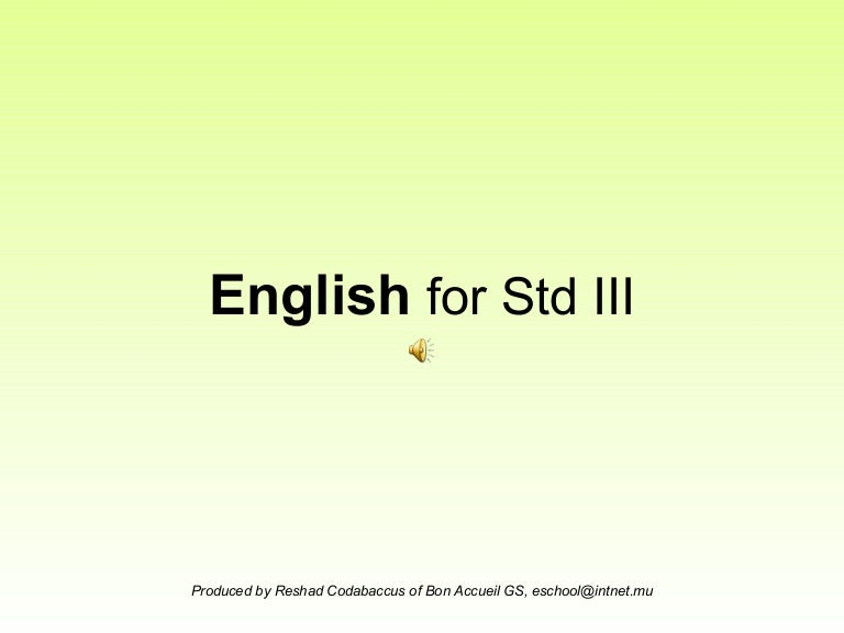 English for Standard III - Verbs and Tenses