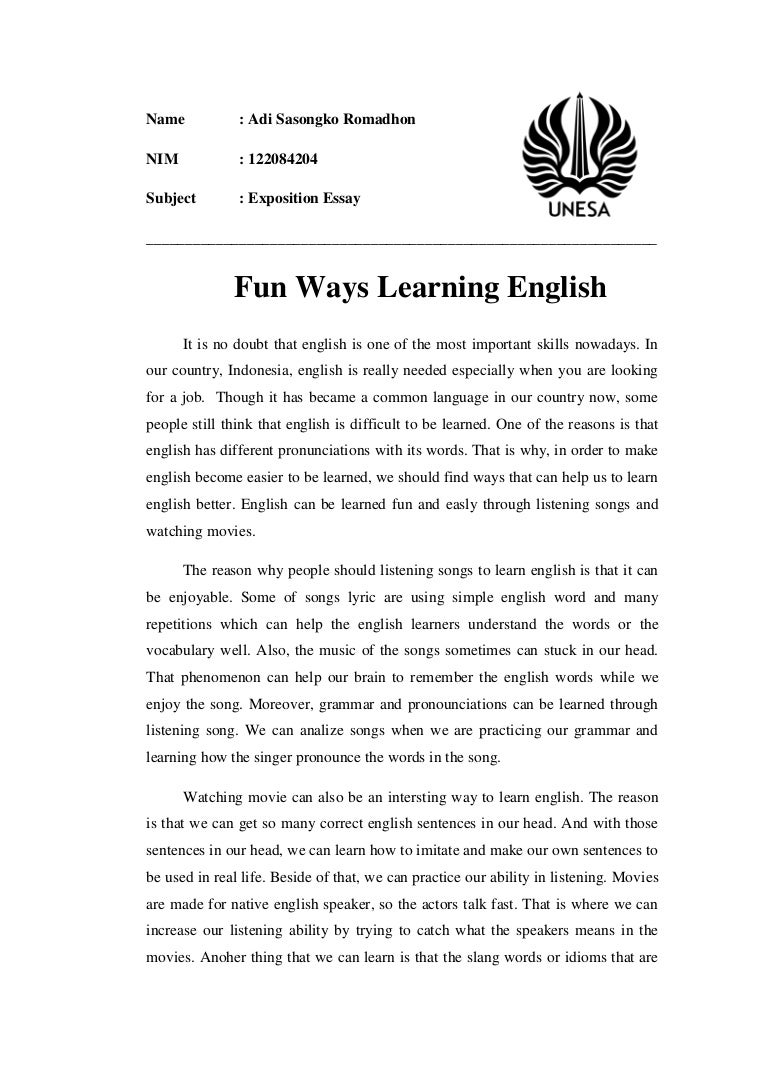 Learning english is fun essay