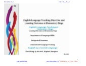 English language teaching objective and  learning outcome at elementary stage