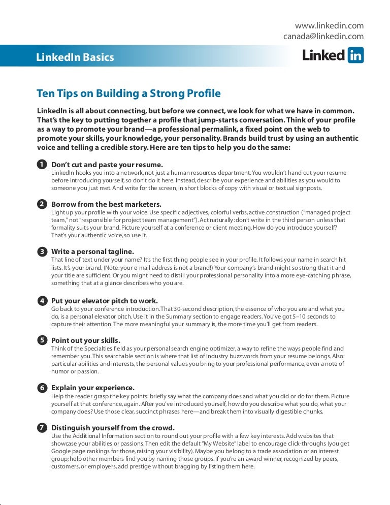 Top ten linkedin profile tips solutioingenieria