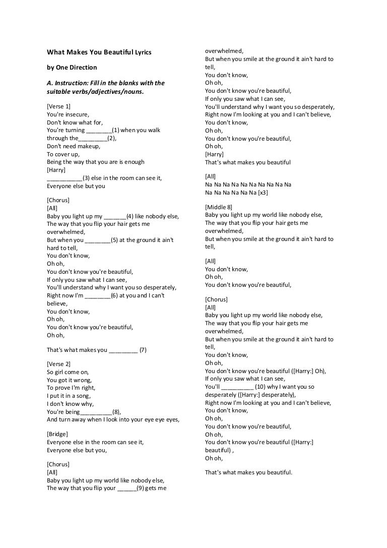 English Song Worksheet Form 1 – Your and You Re Worksheet