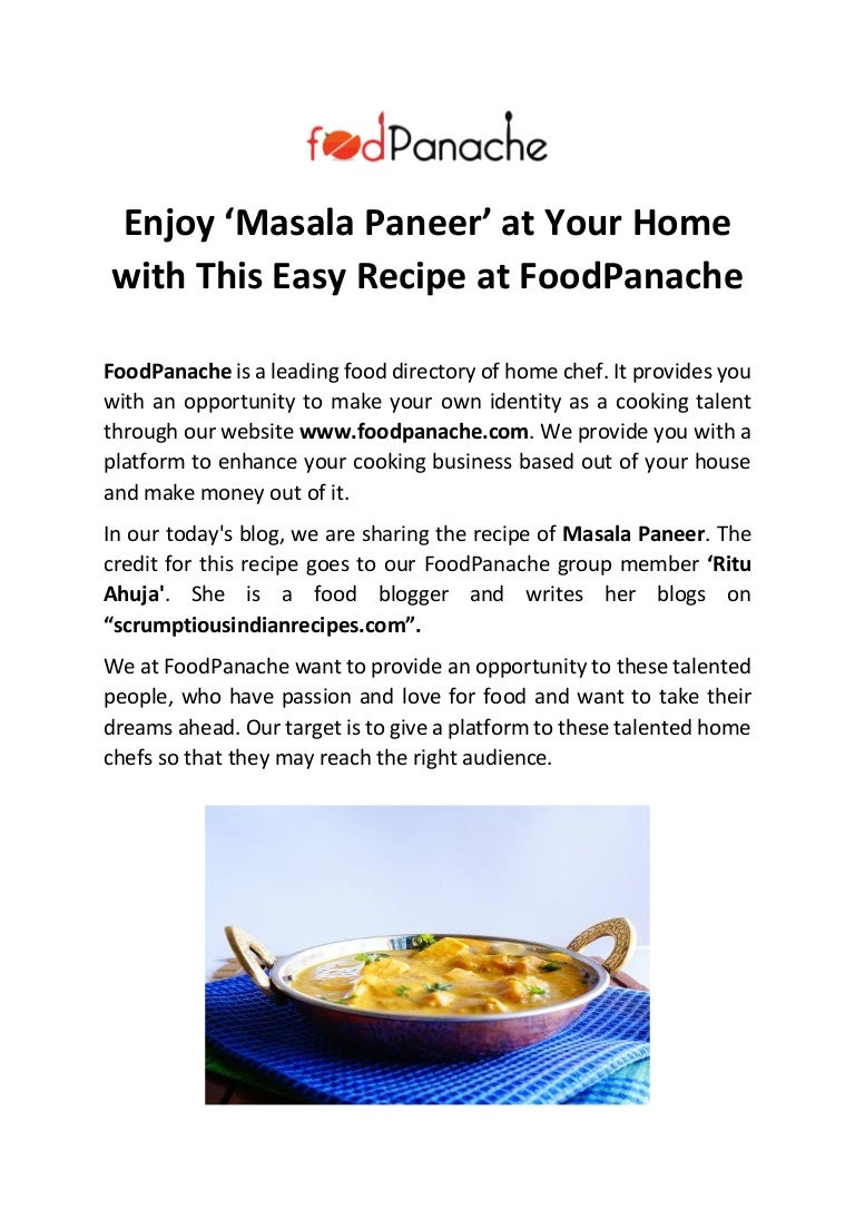 Enjoy masala paneer at your home with this easy recipe at food pana forumfinder Image collections