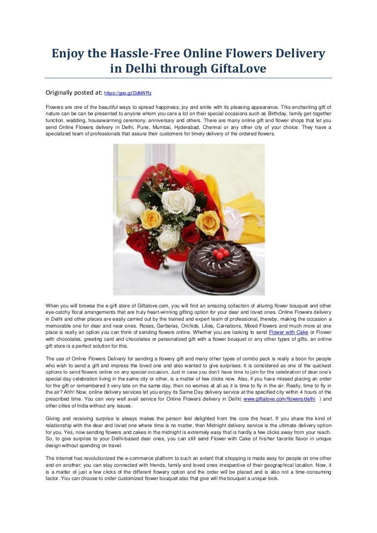 Enjoy The Hassle Free Online Flowers Delivery In Delhi Through Giftal