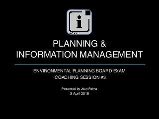 EnP Board Exam Coaching Session on Planning and Information Management