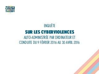 Enquête sur cyberviolences, collectif Féministes contre le cyberharcèlement, 2016