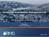 Sustainable Groundwater Management Act (SGMA) | Enrique Lopezcalva, RMC Water and Environment