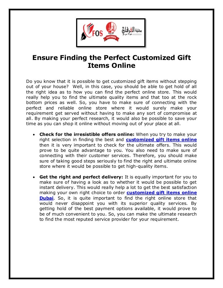 Ensure finding the perfect customized gift items online