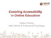 Ensuring Accessibility in Online Education