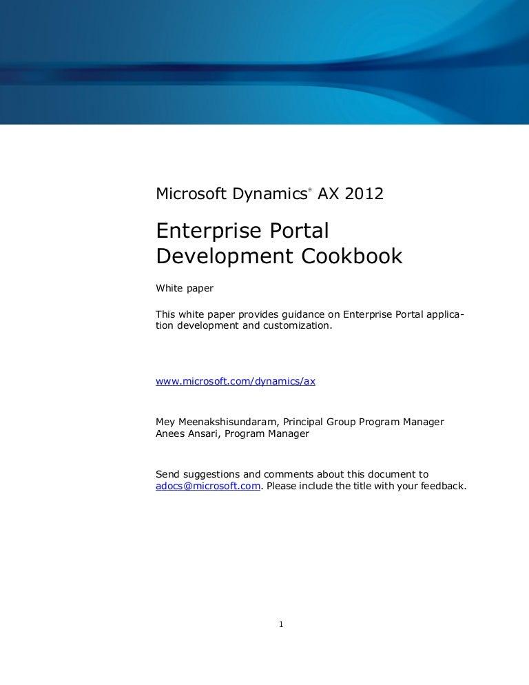 Enterprise portal development cookbook Ax 2012
