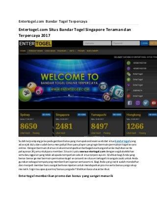 Entertogel.com Bandar Togel Terpercaya