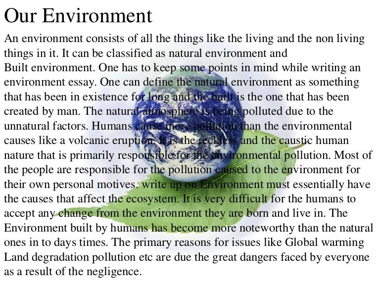 our environment pollution essay