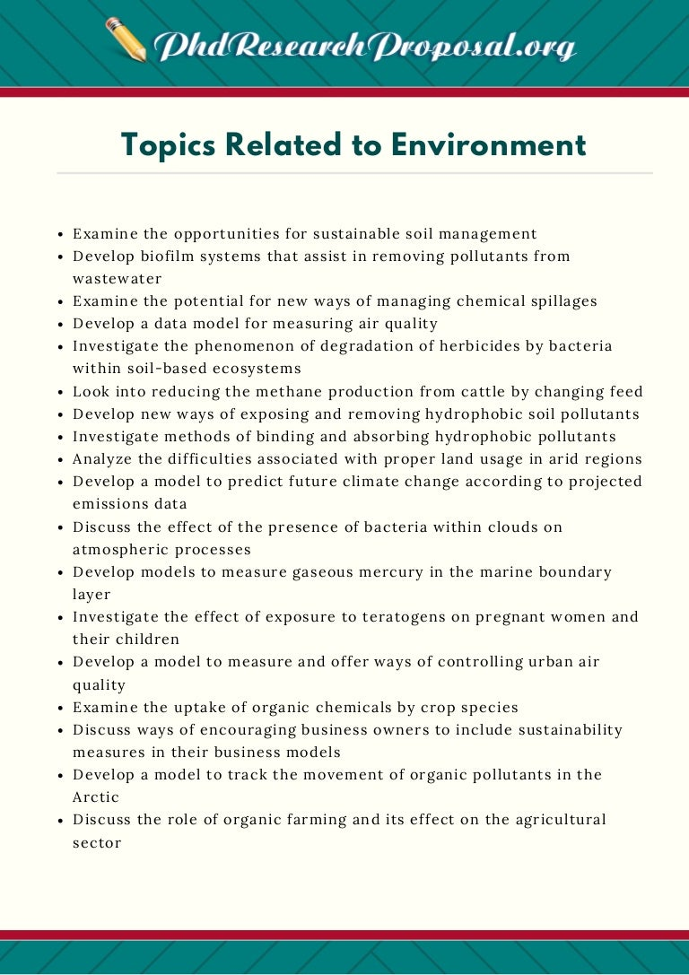Essay topics on environment