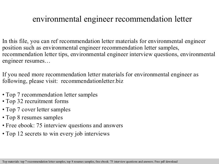 cover letter for environmental engineer