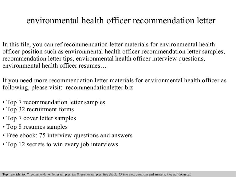 Environmental health officer recommendation letter