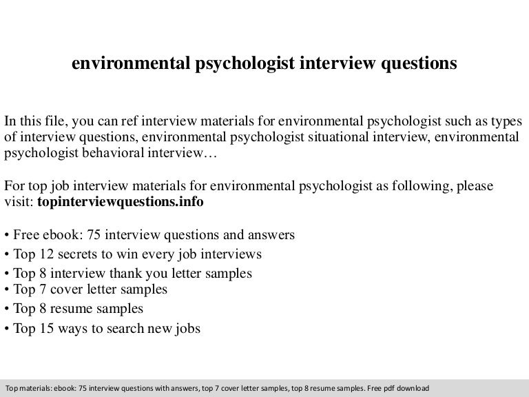Environmental Psychologist Interview Questions