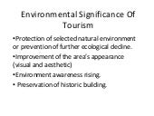 Environmental significance of tourism