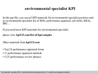 Environmental Specialist LinkedIn