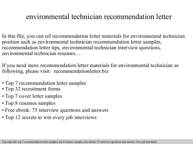 environmental technician recommendation letter