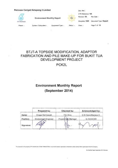 Env monthly report september 2014 for Petronas Bukit Tua