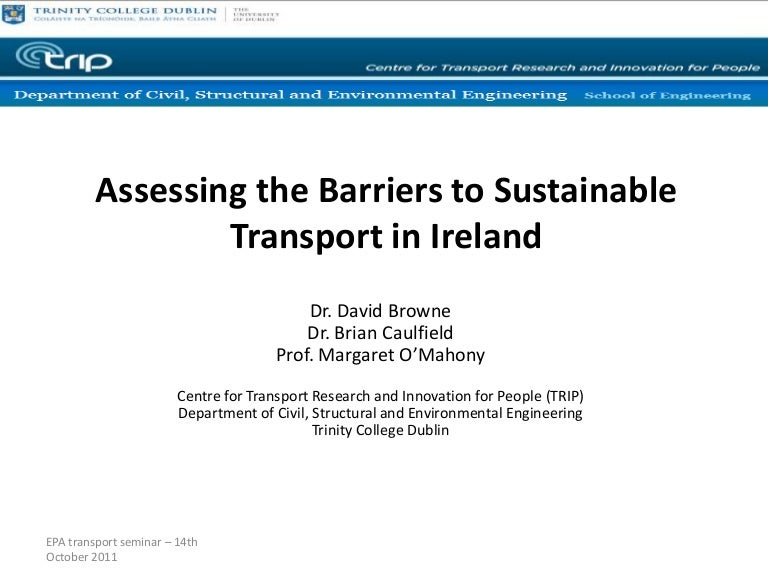 Assessing The Barriers To Sustainable Transport In Ireland