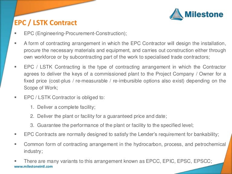 Epc lstk standard contract forms for Turnkey contract template